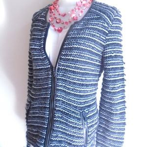Ann Taylor LOFT Metallic Knit Sweater Blazer